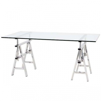 Eichholtz Design-Console-Desk, rectangular, height variable, stainless steel/glass, h 64-77 x w 190 x d 90 cm