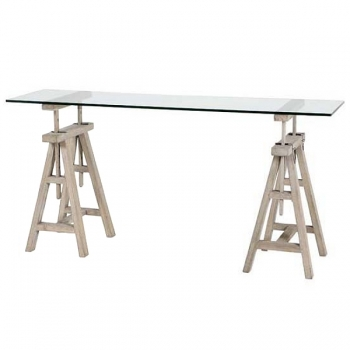 Eichholtz Design-Console-Desk, rectangular, height variable, rustic oak/glass, h 64-95 x w 160 x d 45 cm