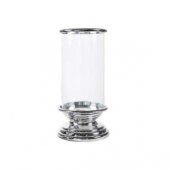 Eichholtz Design-Windlicht Hurricane mit Sockel, klein, Aluminium poliert/Glas, H 42 x Ø 17 cm