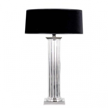 Eichholtz Design Floor Lamp Column, shiny nickeled/chintz shade black Ø 50 cm, h 85 x Ø 12 cm