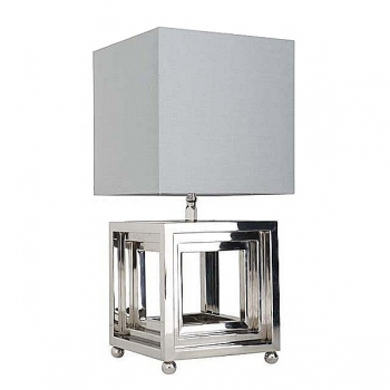 Eichholtz Design Table Lamp Cube, nickeled/chintz shade grey h 30 x w 30 x d 30 cm, h 65 x w 26 x d 26 cm