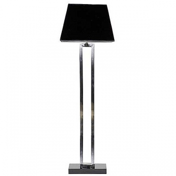 Eichholtz Design Floor Lamp, stainless steel/marble, chintz shade black h 40 x w 47 x d 20 cm, h 130, foot 15 x 25 cm