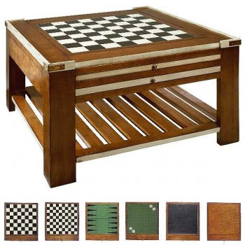 Game Table, antique design, square, cherry/hardwood, ivory/brown, brass hardware, 3 double sided game boards, bottom rack, l 80 x w 80 x h 45 cm