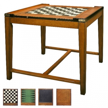 Game Table Casino Royale, antique design, precious wood, brown, brass hardware, 2 double sided game boards, l 82.5 x w 82.5 x h 76 cm