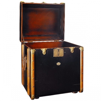 Trunk Table Pullman, small, antique look, colour black/cherry wood, brass hinges, Dimensions: w 53 x h 56 x d 45 cm
