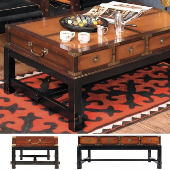 Salon Table Bombay, antique design, precious wood, brown, brass hardware, 8 drawers, l 117.5 x w 68.5 x h 45 cm