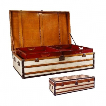 Trunk Table Polo Club, small, antique design, precious wood/canvas, brass hardware, 2 inside serving trays, l 122 x w 71.5 x h 53 cm