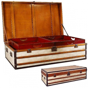 Trunk Table Polo Club, large, antique design, precious wood/canvas, brass hardware, 2 inside serving trays, l 152 x w 90 x h 46 cm
