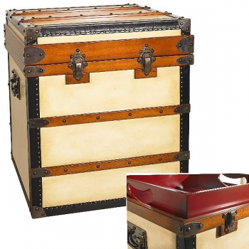Trunk Table Polo Club, high, antique design, precious wood/canvas, brass hardware, 1 inside serving tray, l 55 x w 55 x h 60 cm