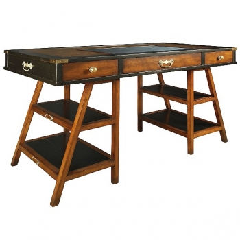 Navigator Desk, antique design, solid cherry, honey/black, brass hardware, faux leather writing pad, 3 drawers, w 140.5 x d 55 x h 78 cm