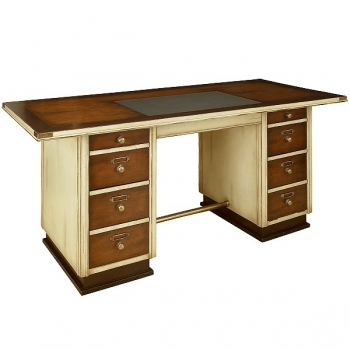 Captain's-Desk, antique design, cherry/hardwood, ivory/brown, brass hardware, 8 drawers, w 170 x d 75 x h 78 cm