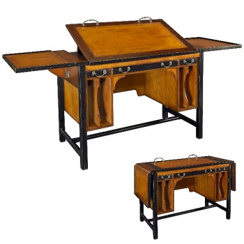Architect's-Desk, antique design, precious wood, brown, brass hardware, side flaps, adjustable top, 3 drawers, w 110 x d 55 x h 77 cm