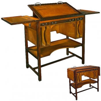 Architect's-Desk high, antique design, precious wood, brown, brass hardware, side flaps, adjustable top, 3 drawers, w 110 x d 55 x h 100 cm