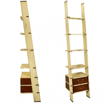 Design Ladder Shelf, antique design, solid wood, ivory/honey, 2 drawers, 4 shelves, brass hardware, h 245 x w 45 x d 50 cm