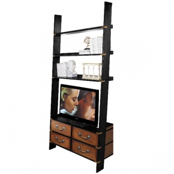 Design Ladder Shelf, antique design, solid wood, black/honey, 4 drawers, 3 shelves, brass hardware, h 245 x w 120 x d 50 cm