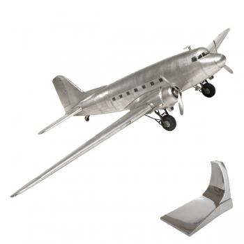Flugzeugmodell Dakota DC-3, detailgetreue Ausführung, mit Standfuß, L 64,5 x B 97  x H 17 cm