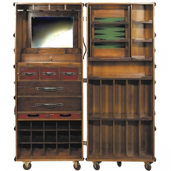 Stateroom Trunk Bar, fold out, with wheels, antique design, ivory, brass hardware, h 147 x w 62 x d 59 cm