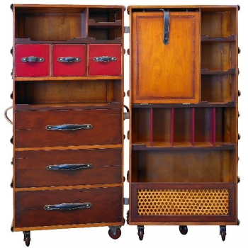 Stateroom Trunk Secretaire, fold out, with wheels, antique design, black, brass hardware, h 130 x w 60 x d 50 cm