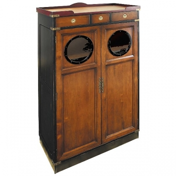 Porthole Cabinet, antique design, honey/black/red, 2 doors, 3 drawers, brass hardware, h 153 x w 92 x d 46.5 cm