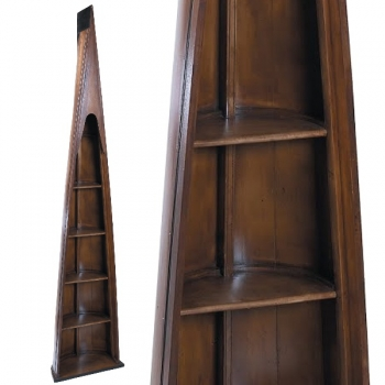 Oxford Man of Eight Bookcase, antique design, walnut colored, 4 shelves, h 216.5 x w 46.5 x d 25 cm