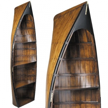 Rowing Boat Shelf Bosun's Gig, antique design, walnut colored, 3 shelves, brass hardware, h 185 x w 68 x d 30.5 cm