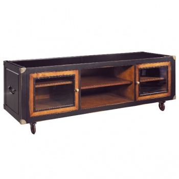 Campaign Sideboard Console with wheels, bicolor, antique design, bicolor, black/hpney, 2 glass doors, 3 drawers, bronze hardware, w 170 x h 62.5 x d 56 cm