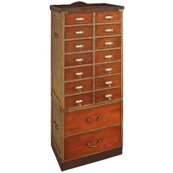 Collectors Cabinet with 16 drawers, antique design, bicolor black/honey, brass hardware, h 145 x w 55.5 x d 35.5 cm