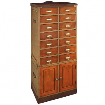 Collectors Cabinet with 14 drawers and 2 doors, antique design, bicolor black/honey, brass hardware, h 145 x w 55.5 x d 35.5 cm