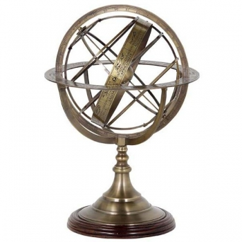 Eichholtz Armillary Sphere, bronze stand and spherical rings, walnut base, h 52 x  Ø 32 cm