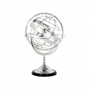 Eichholtz Armillary Sphere, shiny nickeled stand and spherical rings, ebony base, h 29 x  Ø 16 cm