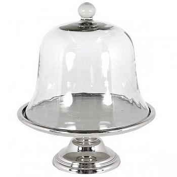 Eichholtz Tortenständer hoch, glänzend vernickelt mit Glashaube, H 42 x Ø 36 cm