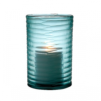 Eichholtz Design-Windlicht Hurricane Ocean S, Glas, blau mit unregelm. Konkavschliff, H 26 x Ø 16 cm