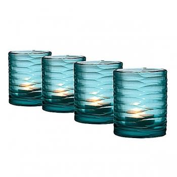 Eichholtz Design-Windlichter Set Hurricane Ocean XS, 4-tlg., Glas, blau mit unregelm. Konkavschliff, H 12,5 x Ø 10 cm