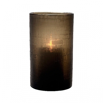 Eichholtz Design-Windlight Hurricane Octave S, smoke glass with cross cut, h 26 x Ø 16 cm