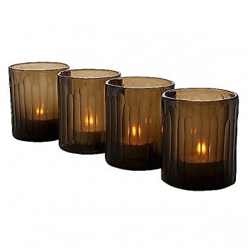 Eichholtz Design-Windlichter Set Astor XS, 4-tlg., Rauchglas mit unregelm. Konkavschliff, H 12,5 x Ø 10 cm