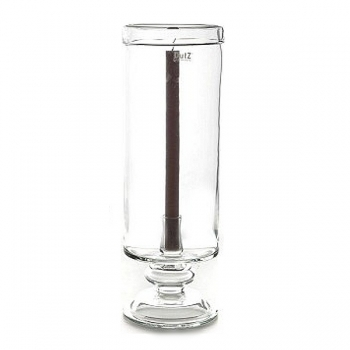 DutZ®-Collection Windlight Hurricane with foot, folded rim and candle holder, h 44 x Ø 15 cm, clear