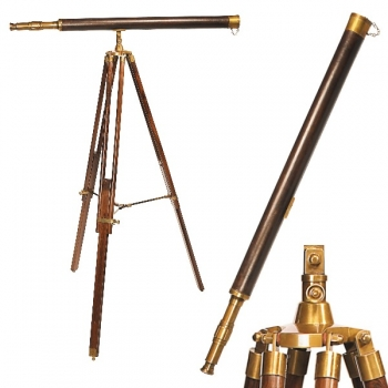 Telescope with Tripod, brass with leather lining, magnification x 20, l 69 cm, tripod rosewood with brass fittings, h 156 x Ø 82 cm, l 100 cm