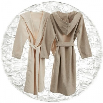 Abyss & Habidecor Capuz Spa Bath Robe, 100% Egyptian Giza 70 cotton, 350 g/m², Size L, 100 White