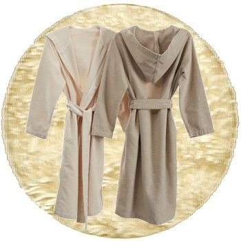 Abyss & Habidecor Capuz Spa Bath Robe, 100% Egyptian Giza 70 cotton, 350 g/m², Size S, 101 Ecru