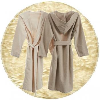 Abyss & Habidecor Capuz Spa Bath Robe, 100% Egyptian Giza 70 cotton, 350 g/m², Size XL, 101 Ecru
