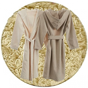 Abyss & Habidecor Capuz Spa Bath Robe, 100% Egyptian Giza 70 cotton, 350 g/m², Size M, 770 Linen