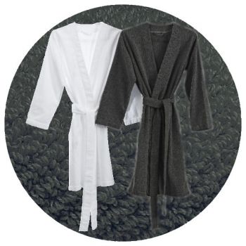 Abyss & Habidecor Spa Bath Robe, 100% Egyptian Giza 70 cotton, 350 g/m², Size M, 920 Gris