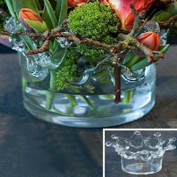 DutZ®-Collection Vase Crown, h 13 x Ø 23 cm, clear
