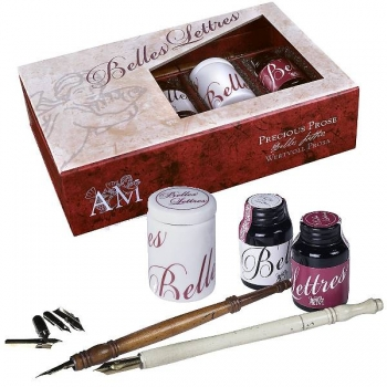 Callgraphy ink set Precious Pros, 2 stylusses, 2 inks, 21 ml ea., 1 porcelain ink cup