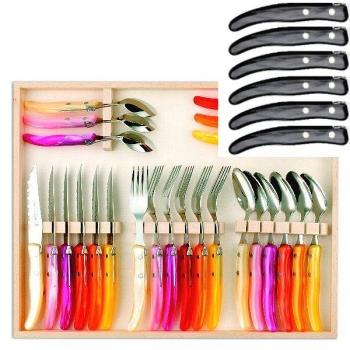 Laguiole Berlingot Cutlery Set of 24 in Box, Gris, 6 steak knives, forks, spoons, 23 cm, 6 coffee spoons 17,5 cm, handles Gris