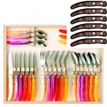 Laguiole Berlingot Cutlery Set of 24 in Box, Marron, 6 steak knives, forks, spoons, 23 cm, 6 coffee spoons 17,5 cm, handles Marron