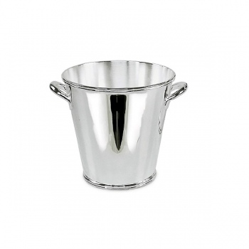 Edzard Ice-Bucket Calo with 2 handles, shiny QualiPlated® with silver, h 14 x Ø 14 cm
