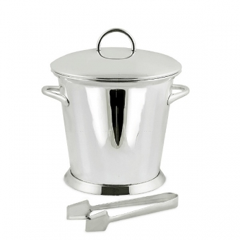 Edzard Ice-Bucket Cupe with 2 handles, cover and tongs, shiny QualiPlated® with silver, h 24 x Ø 20 cm