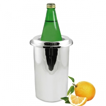 Edzard Wine-Cooler Yvo with insert, shiny QualiPlated® with silver, h 23 x Ø 12 cm