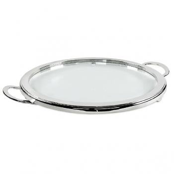 Edzard Cheese Plate/Serving Plate with 2 handles, shiny with silver, Ø 54 cm